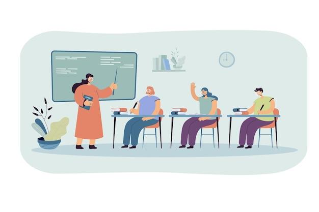 Estudiantes felices aprendiendo en la ilustración plana de la universidad.