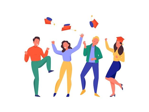 Estudiantes felices bailando y lanzando sombreros en la ilustración plana de la fiesta de graduación