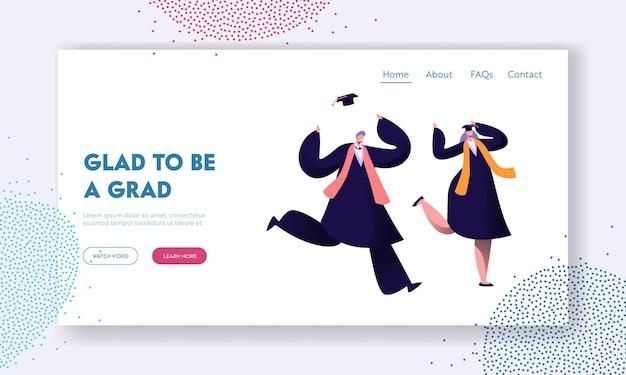 Estudiantes felices celebrando la graduación, el fin de la educación. plantilla de página de destino del sitio web