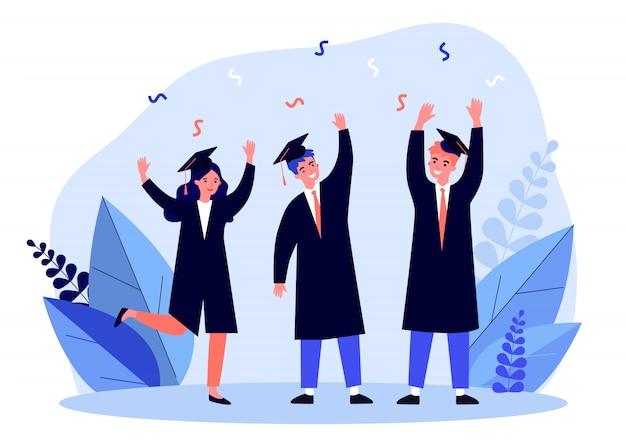 Estudiantes felices celebrando la graduación de la universidad