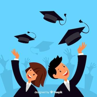 Estudiantes felices celebrando graduación