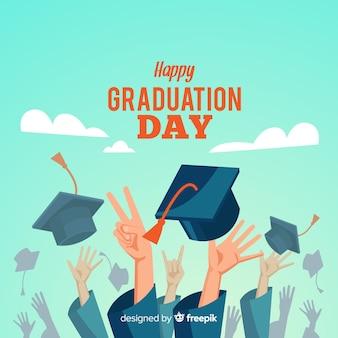 Estudiantes felices con diseño plano celebrando graduación