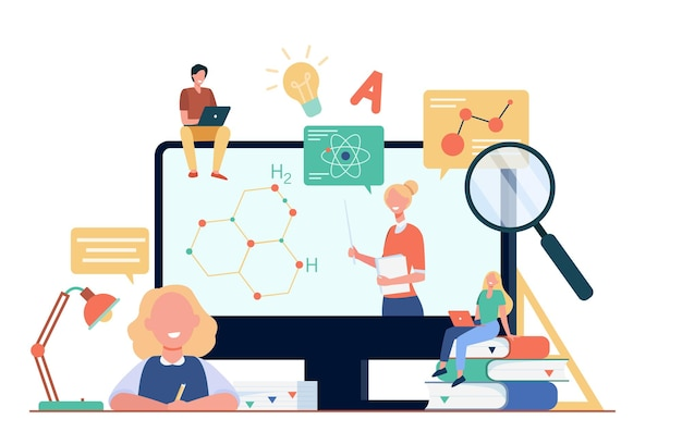 Estudiantes felices o alumnos que miran el seminario web de estudio aislado ilustración plana