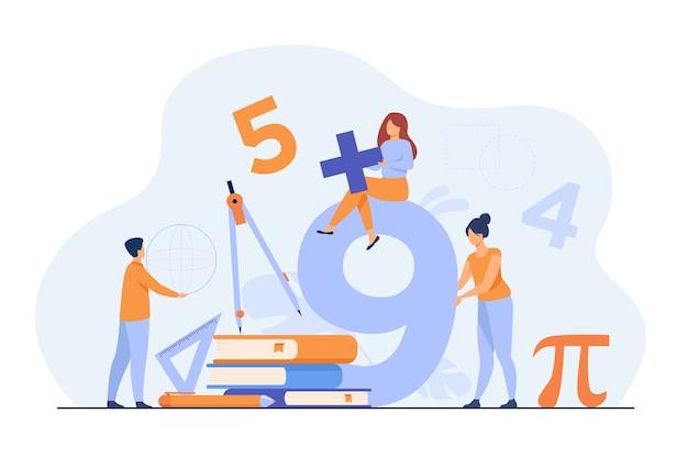 Los estudiantes felices que aprenden matemáticas en la universidad o la escuela aislaron la ilustración plana.