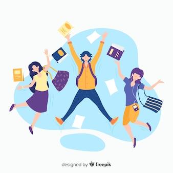 Estudiantes felices saltando con diseño plano