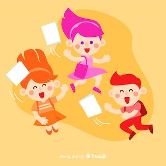 Estudiantes felices saltando y celebrando
