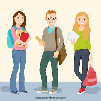 Estudiantes felices de universidad