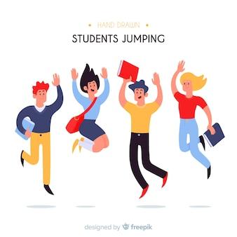 Estudiantes flat saltando