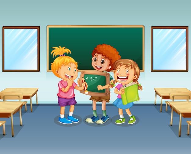 Estudiantes en el fondo del aula.