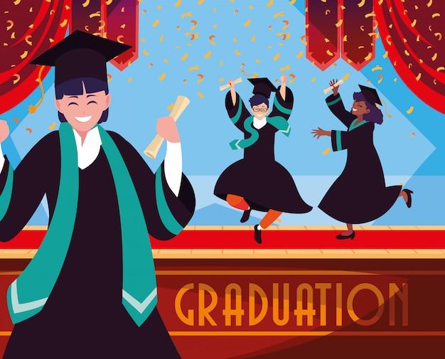 Estudiantes graduados en celebración