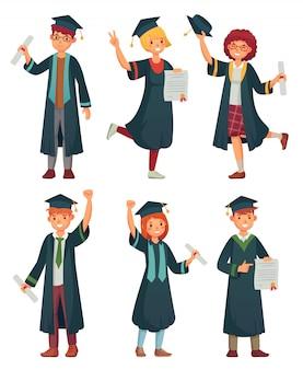 Estudiantes graduados. estudiante universitario en vestidos de graduación, conjunto de dibujos animados de personajes de hombre y mujer graduados universitarios