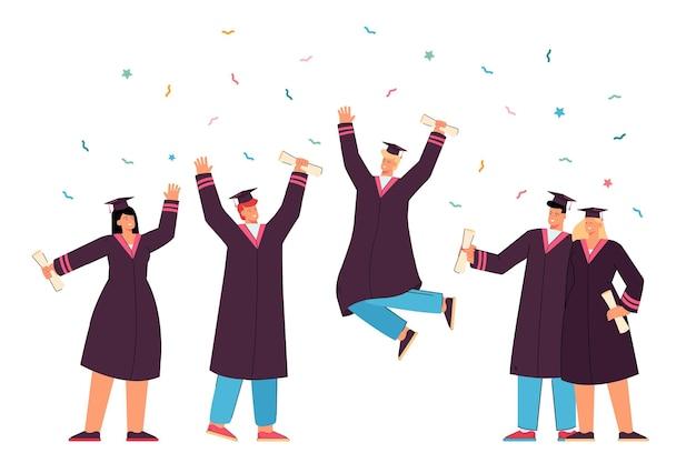 Estudiantes graduados felices en vestidos con diplomas académicos ilustración plana