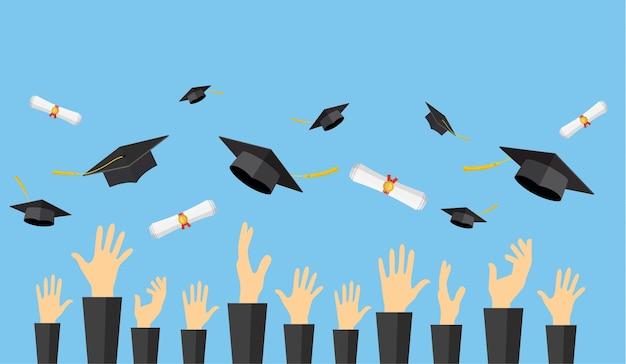 Estudiantes graduados de manos de alumno en bata lanzando birretes de graduación y desplazamiento de diploma en el aire, ilustración vectorial en estilo plano