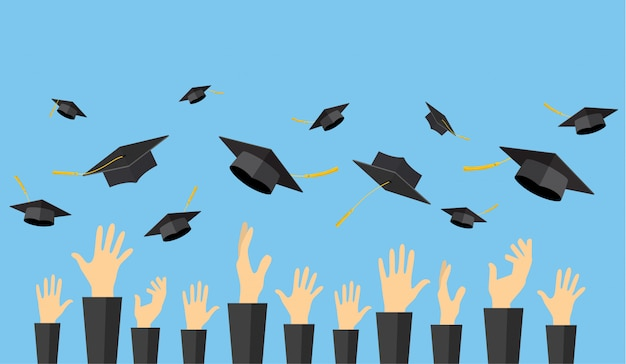 Estudiantes graduados de manos de alumnos