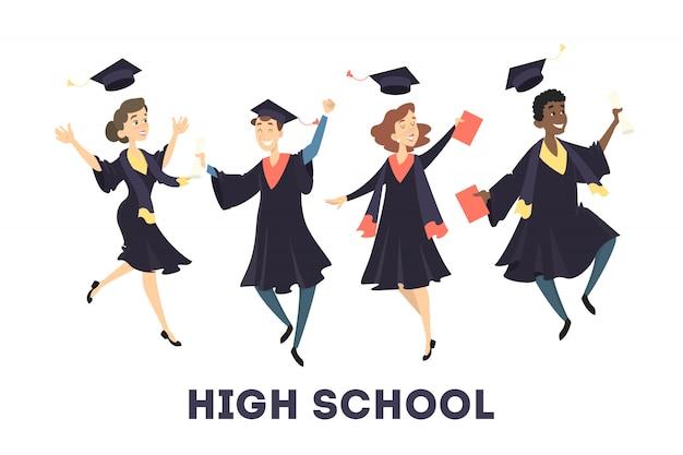 Estudiantes gratificados saltando con sombreros y diploma en blanco.