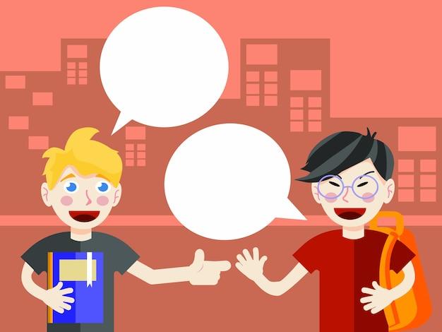 Los estudiantes hablan con bocadillo en blanco