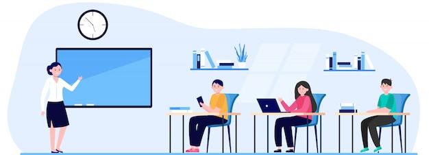 Estudiantes en la ilustración de vector plano de aula