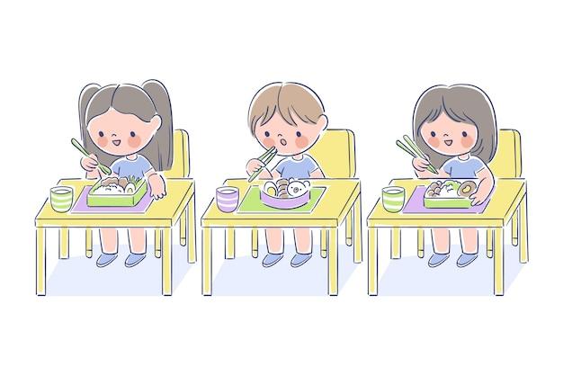 Estudiantes japoneses comiendo en clase