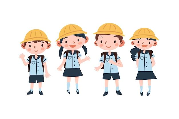 Estudiantes japoneses con uniformes