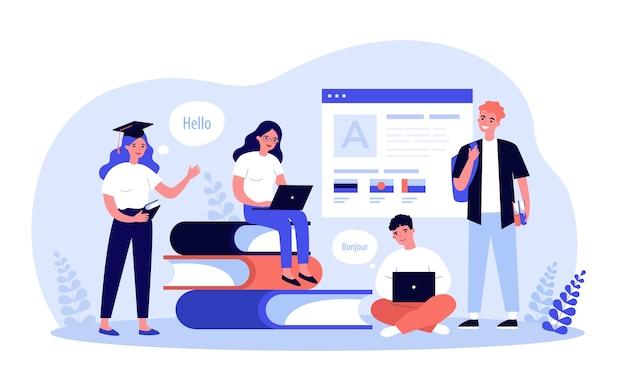 Los estudiantes jóvenes que aprenden el idioma ilustración en línea. personajes de dibujos animados con laptops escuchando lección con el maestro a través de internet. educación a distancia y concepto de tecnología digital.