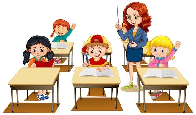 Los estudiantes levantando sus manos con un maestro sobre fondo blanco.