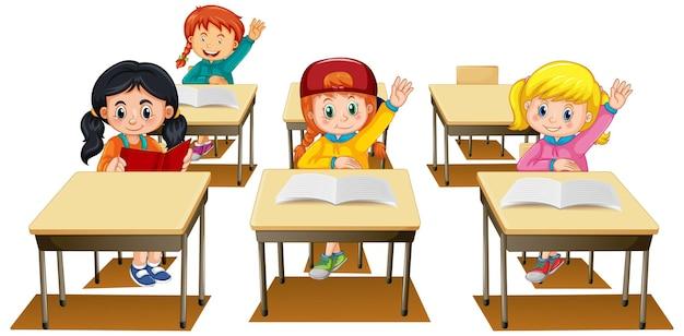 Estudiantes levantando sus manos sobre fondo blanco.