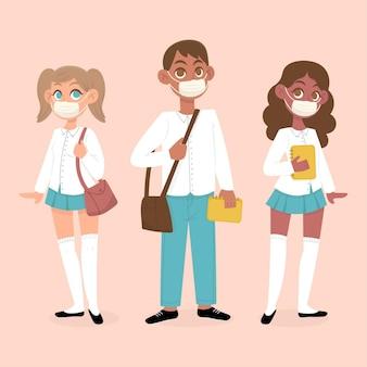 Estudiantes con mascarillas