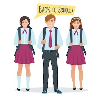 Estudiantes niño y niña en uniforme escolar