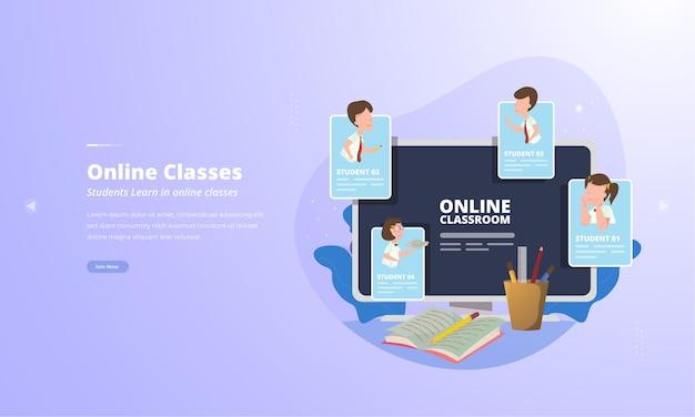 Los estudiantes permanecen aprendiendo a través de videoconferencia para el concepto de ilustración de clases en línea