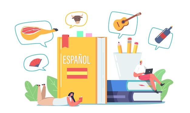 Estudiantes personajes aprendiendo español, curso de lengua extranjera