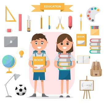 Estudiantes de pie con objetos de clase en diseño plano