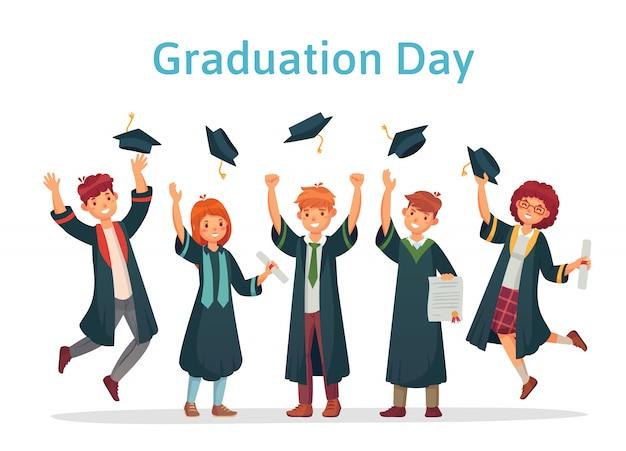 Estudiantes de posgrado. día de graduación del estudiante universitario, examen de éxito y grupo universitario arrojando ilustración de gorras académicas