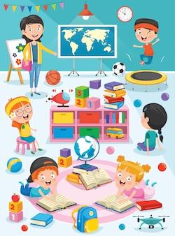 Estudiantes que estudian en el aula