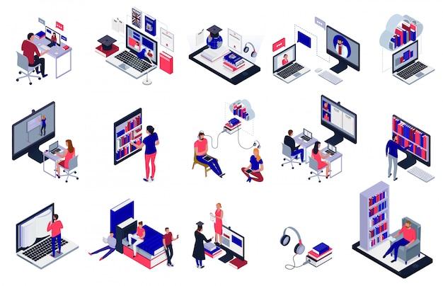 Estudiantes que estudian en línea usando los iconos de la biblioteca electrónica conjunto aislado en blanco 3d