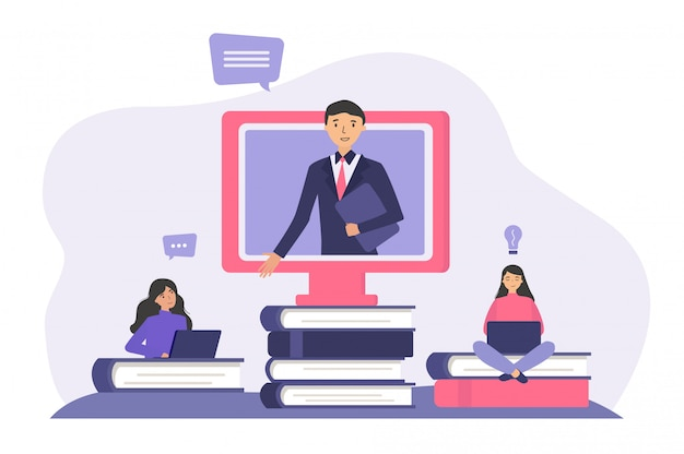Estudiantes que estudian en línea