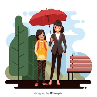 Estudiantes con sus padres en diseño plano