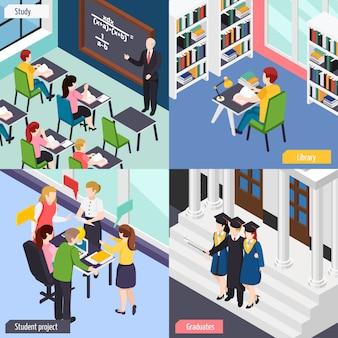 Estudiantes universitarios en el aula de conferencias de la biblioteca ocupados con el conjunto de composición del proyecto