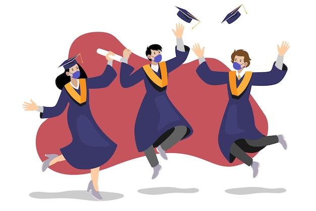 Estudiantes universitarios graduados y con máscaras médicas.