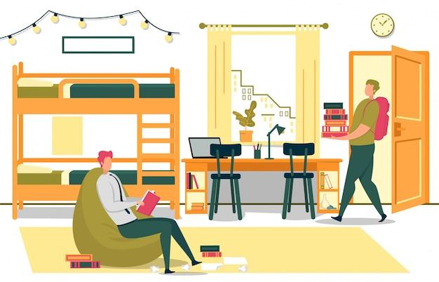 Estudiantes universitarios se preparan para los exámenes en el dormitorio