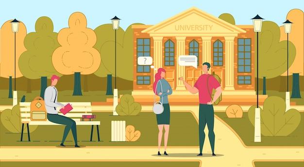 Estudiantes en university o college campus park.