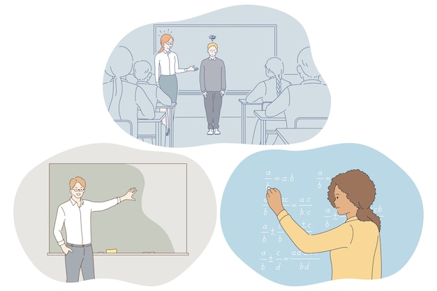 Estudiar en la escuela, alumno, concepto de profesor.