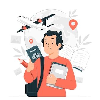 Estudiar en el extranjero ilustración del concepto
