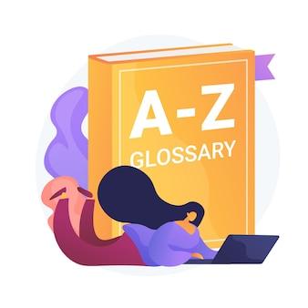 Estudiar el idioma inglés. glosario de internet, vocabulario moderno, idea de diccionario. traductor con laptop. definición de búsqueda de mujer en línea.