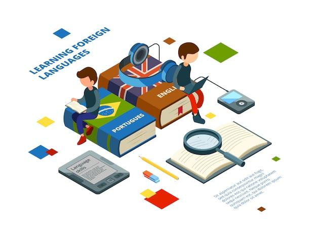 Estudiar lenguas extranjeras. libros de vocabulario y estudiantes hablan en varios idiomas el concepto isométrico de aprendizaje en línea