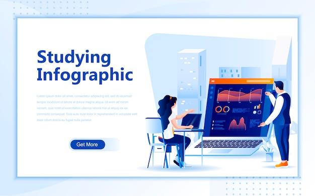Estudiar la plantilla de página de inicio plana infográfica de la página de inicio
