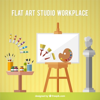 Estudio artístico con lienzo en diseño plano