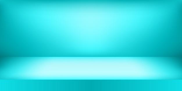 Estudio de color azul vacío. fondo de sala, exhibición de productos con espacio de copia para exhibición de diseño de contenido.