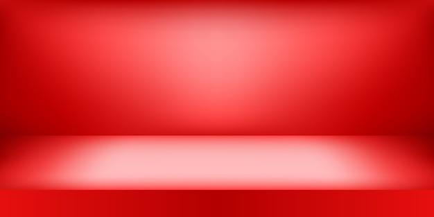 Estudio de color rojo vacío. fondo de sala, exhibición de productos con espacio de copia para exhibición de diseño de contenido.