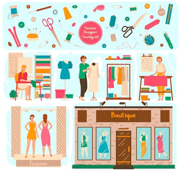 Estudio de diseñador de moda, mujer haciendo vestido para boutique, ilustración