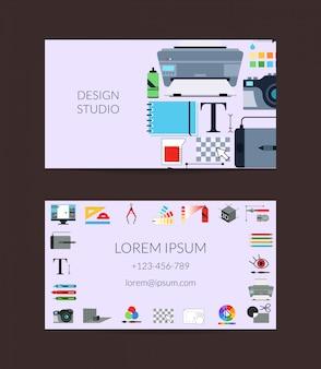 Estudio de diseño de arte digital o plantilla de tarjeta de visita de lecciones